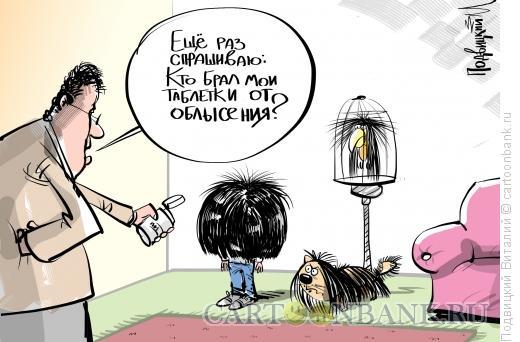 Карикатура: Таблетки от облысения, Подвицкий Виталий