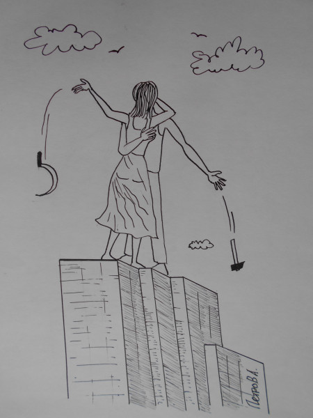 Карикатура: Мужчина и женщина(рабочий и колхозница), Петров Александр